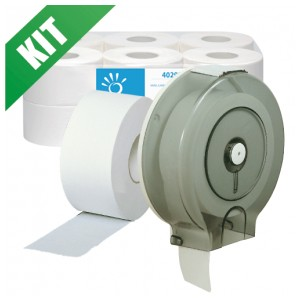 Kit distributore + carta igienica in rotoli Jumbo Ø 19