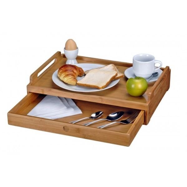 Vassoio tavolino in legno bamboo per colazione pranzo cena - Vassoio colazione letto ...