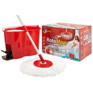Rotomop Secchio Lavapavimenti Professionale + Mop Mocio + Manico Acciaio