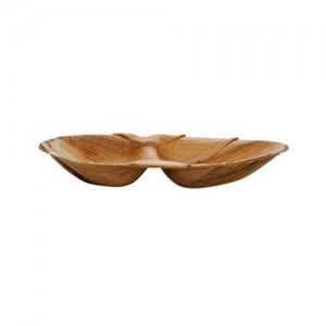 Piatto ovale bis comparto in foglia di palma 26×16 cm
