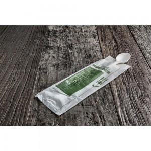 cucchiaio monouso Bio & Compostabile in Mater-bi con tovagliolo monovelo