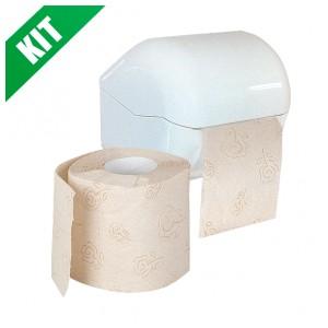 Kit carta igienica rotolo ecologico con dispenser